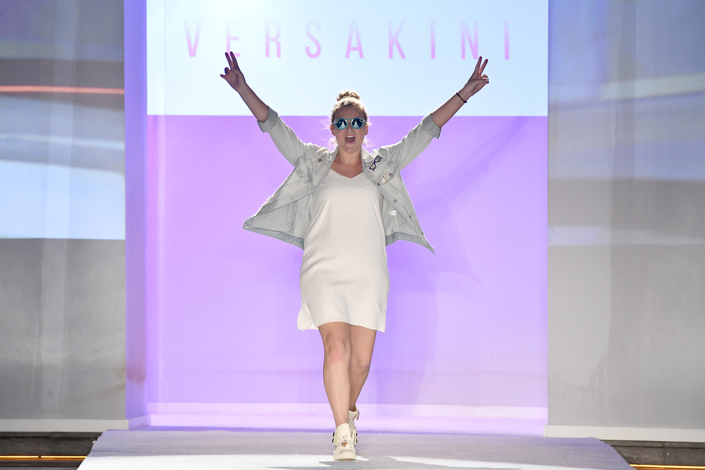 Kelsey Duffy on the runway at her Versakini 2018 collection show.