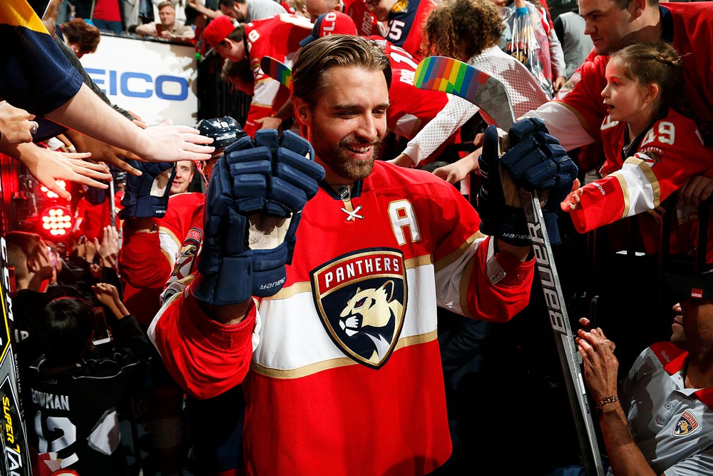 Aaron Ekblad wields a rainbow hockey stick. Photo provided by the Florida Panthers.