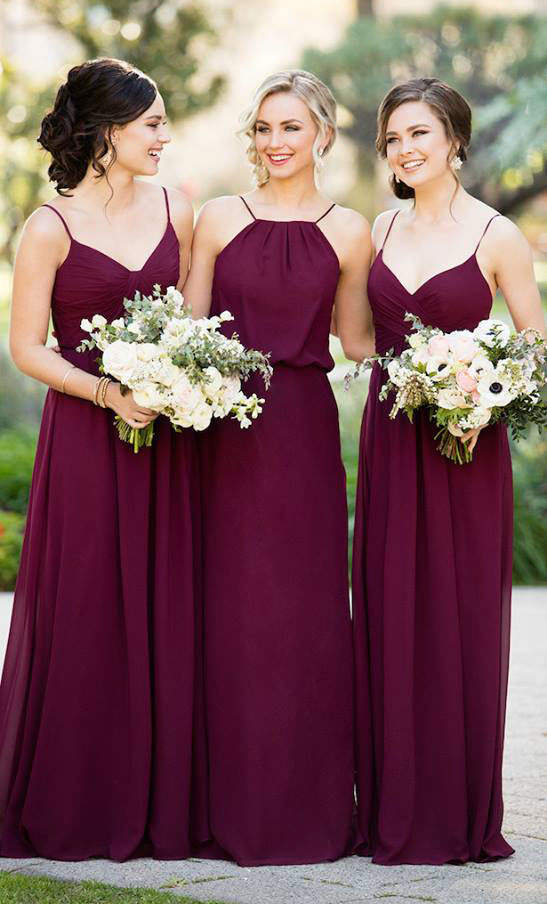 Deep burgundy and plum colors are demonstrated on these Sorella Vita dresses.