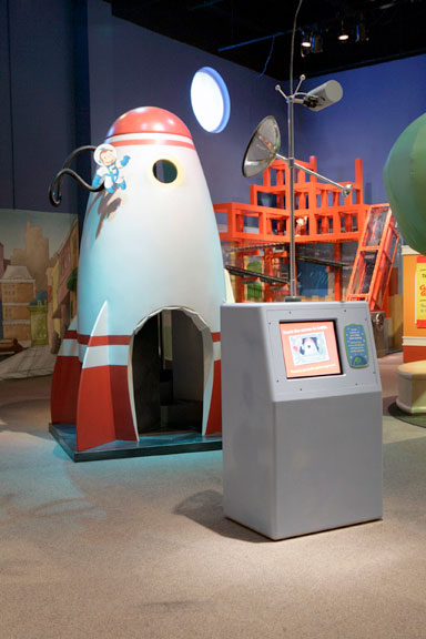 Curious George's rocket! Photo courtesy of Museum of Discovery and Science.
