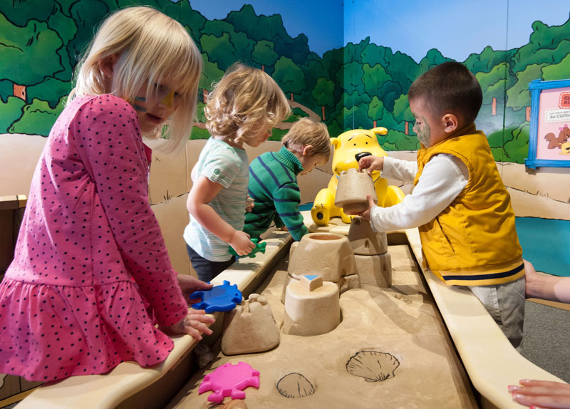 Kids play at T'Bone's Beach at the Clifford Exhibit. Photo courtesy of Museum of Discovery and Science.