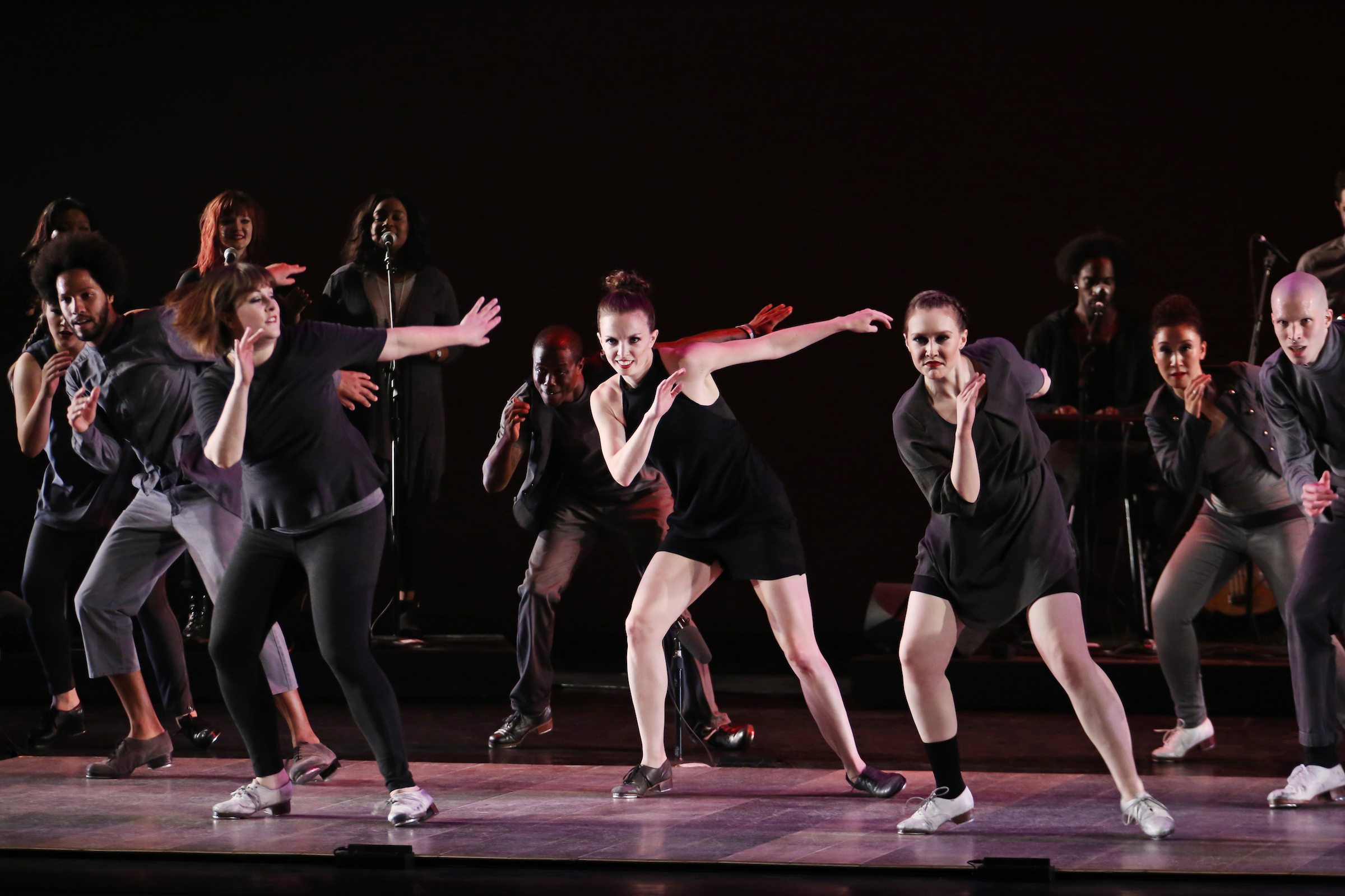 """Fall for Dance Festival Dorrance Dance """"Myelination"""" (World Premiere) Performers: Michelle Dorrance (centre), and members of the company New York City Center New York, N.Y. October 8, 2015 Photo Credit: Julieta Cervantes"""