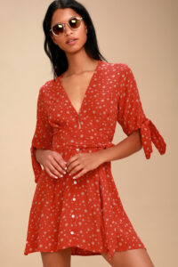 Birgit Red Floral Print Tie-Sleeve Dress