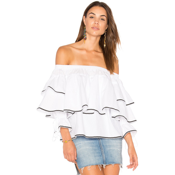 Endless Rose Ruffle Trim Off the Shoulder Top