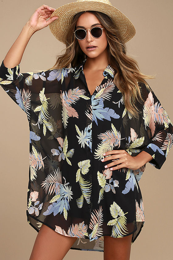 In the Tropics Sheer Shirt Dress (1)