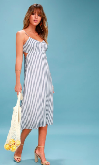 SUN AND SEA BLUE AND WHITE STRIPED BACKLESS MIDI DRESS