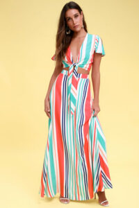 Van Nuys Multi Striped Maxi Skirt & Top